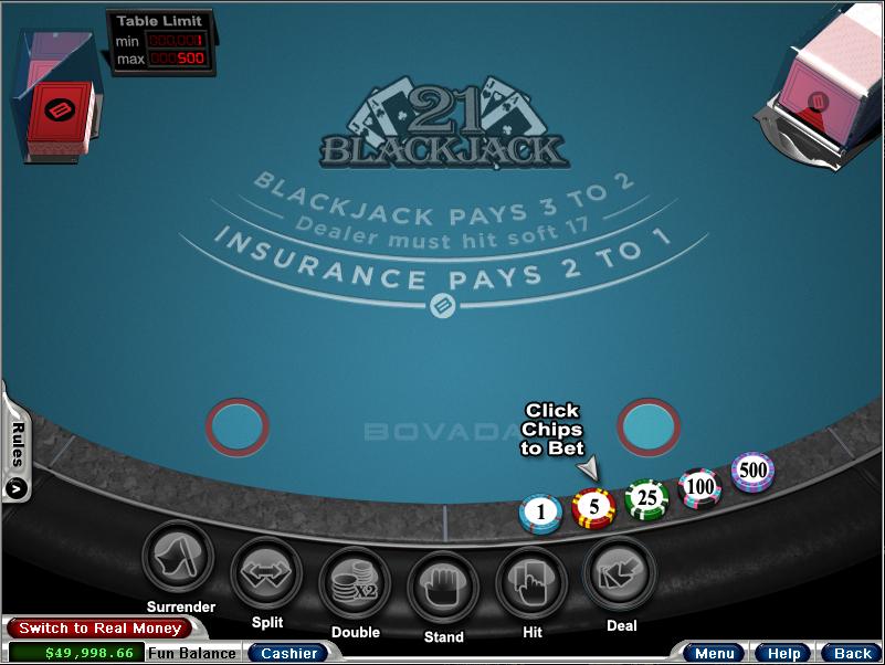 Bodog blackjack practice